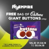 Free Pack of Cadbury Giant Buttons at Empire Cinema