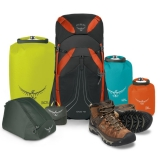 Win Keen hiking boots, Osprey backpack and accessories